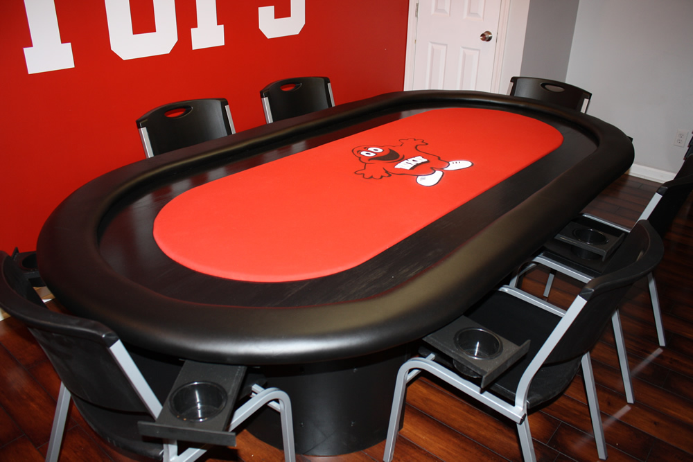 Red Texas Holdem Table With Raceway